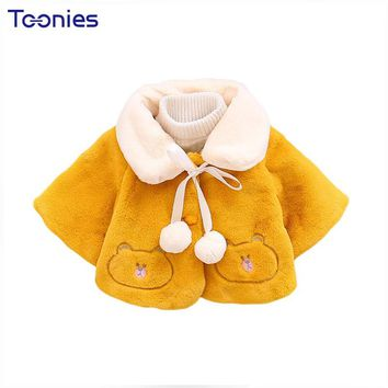 Cartoon Baby Coats 2018 Autumn Winter Girls Trench Jackets New Design Batwing Sleeve Infants Cloak Princess Toddler Girl Clothes