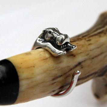 Baby Hippopotamus Ring in Solid Sterling Silver