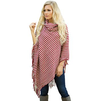 Chicloth Red White Stripes Cowl Neck Poncho Sweater
