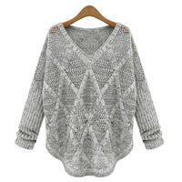 Grey Pullover Knit Sweater