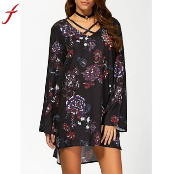 Floral Printing Long Sleeve Black V- Neck ukraine Bandage Mini Dress