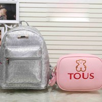 TOUS New Fashion Casual Sport Laptop Bag Shoulder School More letter two piece Bag Backpack Bear Small Shoulder Bags Silver+dark pink