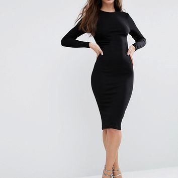 ASOS Midi Bodycon Dress in Rib with Long Sleeves at asos.com