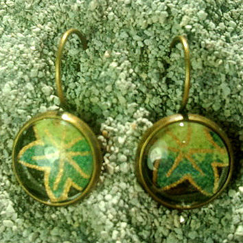 Bronze-finish Lever-back Earrings with Origami Paper Under Glass - WITH GIFT CARD