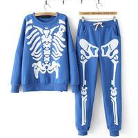 Skeleton harajuku fleece suits