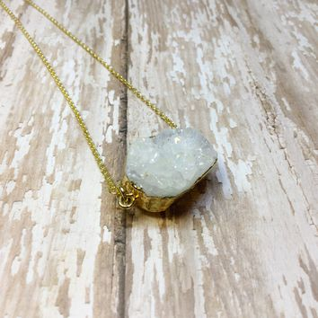 White Druzy Nugget Pendant with Gold Plated Back