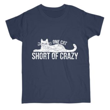 Funny Gift For Cat Owner Womens T Shirt One Cat Short of Crazy Kitty Lover