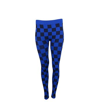 Women Plaids & Checks Printed Seamless Banded High Waist Leggings Onesize USA