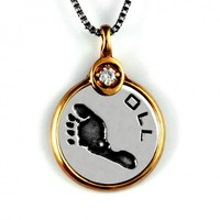Custom Baby Footprint Pendant - Gold Frame - Gold Gemstone Setting - Jak Figler - Jewelry - Necklace - Gift - Mother's Day - New Moms