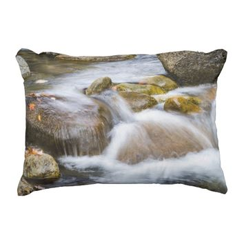 Waterfall in Autumn Outdoor Pillow