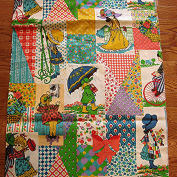 1970s Fabric Juvenile Novelty Fabric Holly Hobbie Fabric yardage