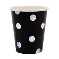 Black Holographic Cups (Set of 8)