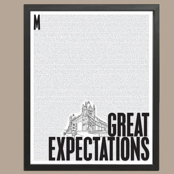 Great Expectations by Charles Dickens  - Art Print - Poster for Literature Lovers - 8 x 10 Wall Decor