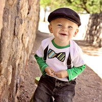 Bow Tie and Suspenders Onesuit For The Little Man Baby Boy Gift - Choose Your Fabric