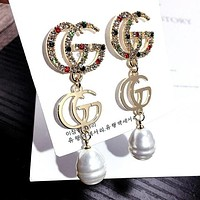 GUCCI S925 Silver Needle Hot Sale Colorful Diamond Double G Letter Pearl Pendant Earrings Accessories Jewelry