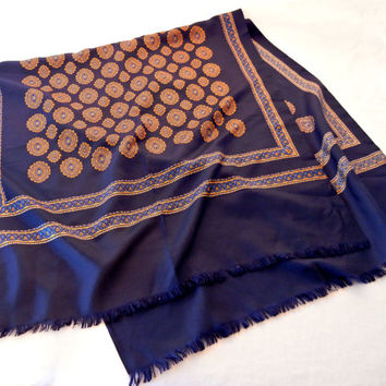 Vintage Fringed Dress Scarf, Navy Blue with Gold Medallions Wide Rectangle, French Silk SOIE Designer