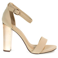 Spotlight31S NudeBy Bamboo, Retro Electric Plated Metal Chunky Block Heel Sandals