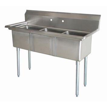 "Stainless Steel 3 Compartment Sink 41.5"" x 17.5"" No Drainboards"