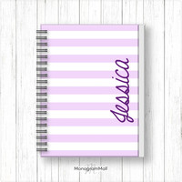 Personalized notebook, journal, stationary, sketch book, notepad, school supplies, stripes, lilac, purple, monogram, personalize