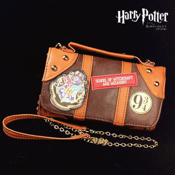 New Harry Potter Hogwarts PU School Badge Wallet Package Collectibles Shoulder bag Handbags Christmas Gifts Free shipping
