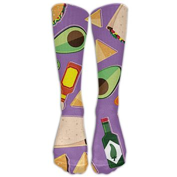Taco Novelty Cotton Knee High All-Over Printed Socks