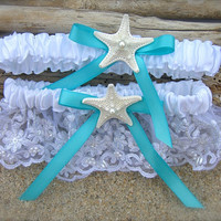 Beach Wedding Starfish Garter Set-SOMETHING TIFFANY BLUE-Beach Coastal Weddings, Destination Weddings, Mermaids, Aqua Turquoise Blue