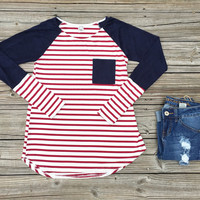 Red & navy stripe top