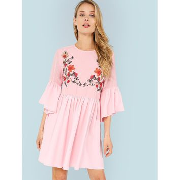 Floral Embroidered Jacquard Bodice Smock Dress Pink