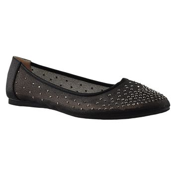 Womens Ballet Flats Rhinestone Round Toe Dress Flat Shoes Black