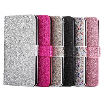 Bling Raindrops Leather Case For iPhone 7 Plus Wallet Flip Cover Phone Bag Case For Apple iPhone6 6s Plus Stand With Card Holder