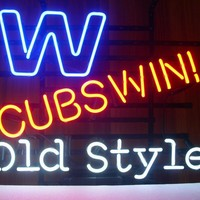 Chicago Cubs Win W Old Style MLB sports Neon Sign Real Neon Light