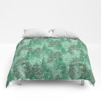 Green Summer Conifer Forest Watercolor Pattern by WickedRefined - Nicole Demereckis