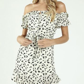 Off Shoulder Spots Dress