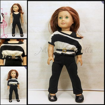 "18"" Doll Outfit Black Unitard, Dropped Shoulder SweaterTop, and Black Belt"