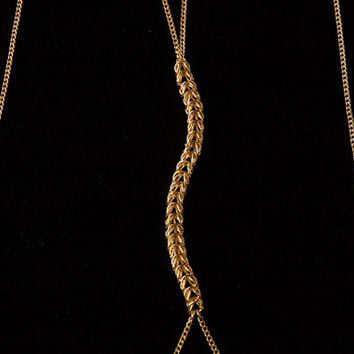 box weave body chain // gold toned chain and chain mail center with chain tassel detail
