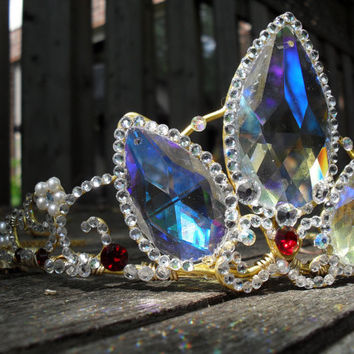 A Tangled Tiara - Rapunzel's Gold Crystal Crown Made to Order