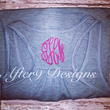 Women's monogram personalized razorback tank by AfterNineDesigns