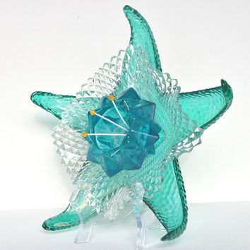 Glass Starfish, Garden Art, Drought Tolerant, Glass Plate Flower, Beach Decor, Nautical Gift, Cottage Chic, Beach Art, Teal Flower