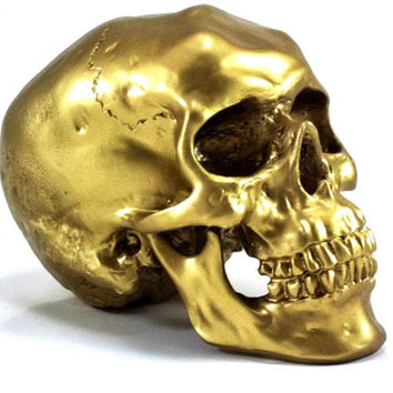 Gold Skull Head, Avant Garde, Bling Room Decor, Halloween Prop, Hipster Style, Macabre