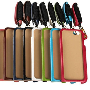 Hot sale Luxury Magnetic 1 Card slot PU Hang Rope ID Card Stand Case Cover For  Apple Phone 5 5S