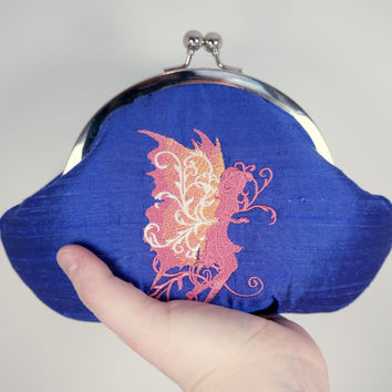 Indigo purple clutch, embroidered pink fairy, framed lace clutch purse wristlet, silk clutch, personalized initials