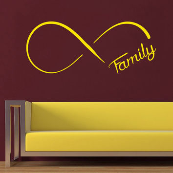 Family Wall Decal Quote Infinity Symbol Gift Vinyl Stikers Love Art Murals Sweet Home Bedroom Decor Dorm Living Room Interior Design KY16