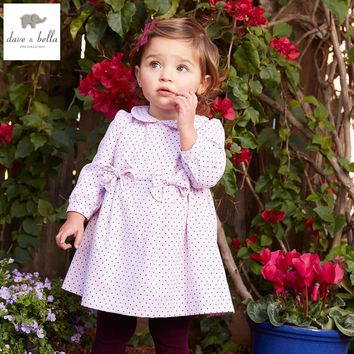 DB4006 davebella spring baby girl vintage style princess dress baby retro dress kids birthday clothes girls dots purple dress