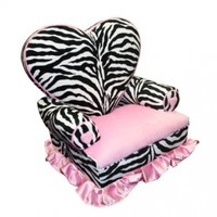 Newco Kids Princess Heart Chair Minky, Zebra