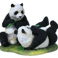 Two Pandas Playing with Grass Statue