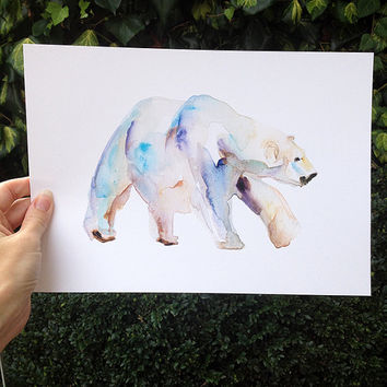 Icebear Watercolor Bear Painting - giclee print -animal painting Zen art Polar bear illustration - arctic animal art