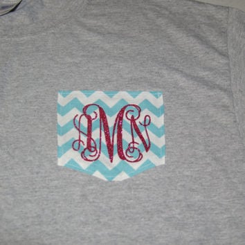 Short Sleeve Monogram Chevron Pocket T-Shirt Womens