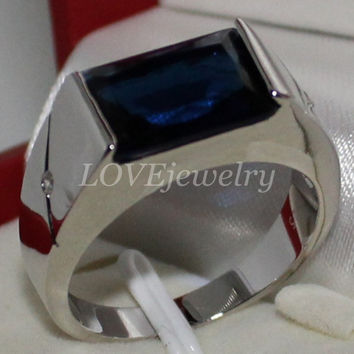 925 Sterling Silver Oblong Blue Sapphire CZ Side Stone Wedding Band Ring Jewelry for Men