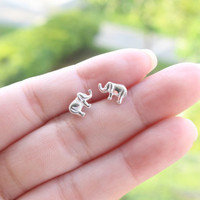 Elephant stud earrings, Elephant Sterling Silver Ear Studs, Elephant Stud earrings, Cartilage Earring, Children Earrings, Good Luck Jewelry