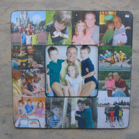 """Personalized Picture Frame, Custom Family Photo Collage, Unique Valentine's Day Gift, Baby's First Year  8"""" x 8"""" Frame"""